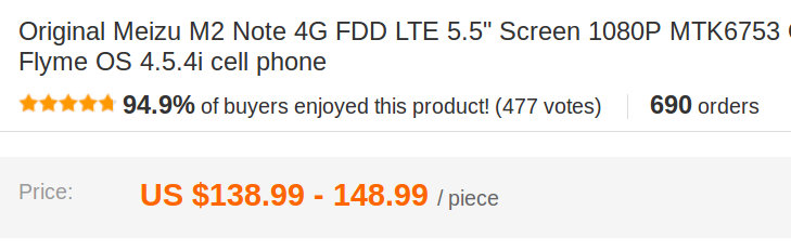AliExpress product rating - at the top of the product page
